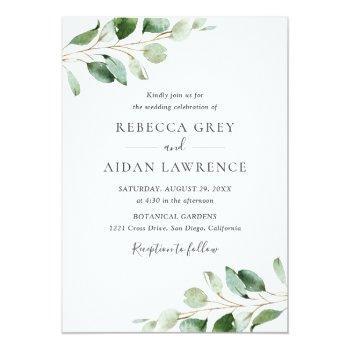 Small Simple Moody Eucalyptus Greenery Wedding Invitation Front View