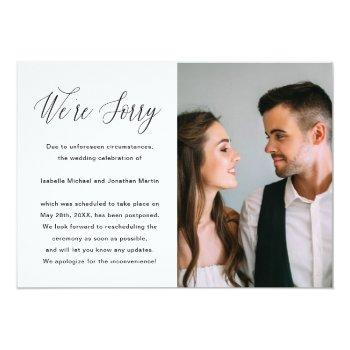 Small Simple Photo Wedding Postponement Announcement Front View