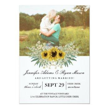 simple photo wedding sunflowers 2 invitation