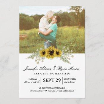 simple photo wedding sunflowers invitation