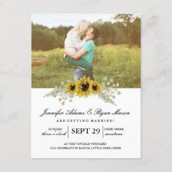 simple photo wedding sunflowers invitation postcard