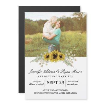 simple photo wedding sunflowers magnetic invitation