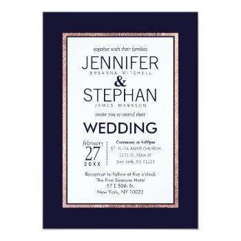simple rose gold lined navy blue wedding invitation