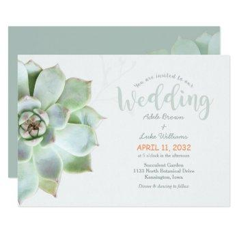 simple succulent country wedding invitation