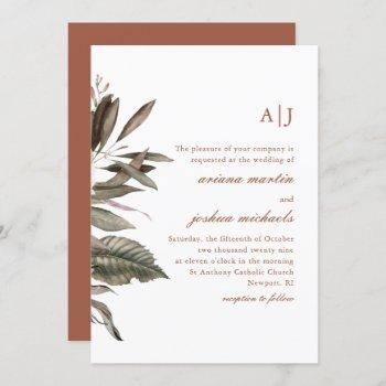 simple terracotta botanical bouquet with monograms invitation