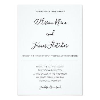 simple two-sided invitation with online rsvp