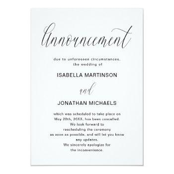 Small Simple Wedding Cancellation Announcement Front View