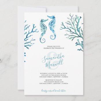 simple wedding invitation seahorse