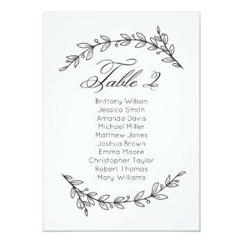 simple wedding seating chart floral. table plan 2 invitation