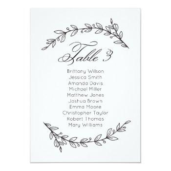 simple wedding seating chart floral. table plan 3 invitation