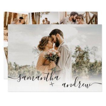 simple white minimalist script 5 photos wedding invitation