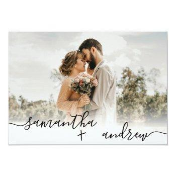 Small Simple White Minimalist Script 5 Photos Wedding Invitation Front View