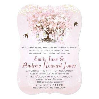 simply pink heart leaf tree love bird wedding invitation