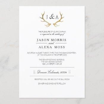 simply rustic gold antler | elegant wedding invitation