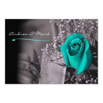 single turquoise rose fade to black wedding invitation