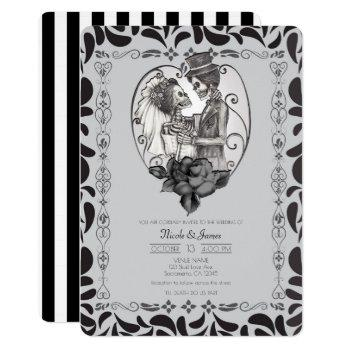 skeleton love couple marriage dance gothic wedding invitation