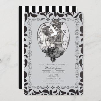 skeleton love couple marriage dance gothic wedding invitation