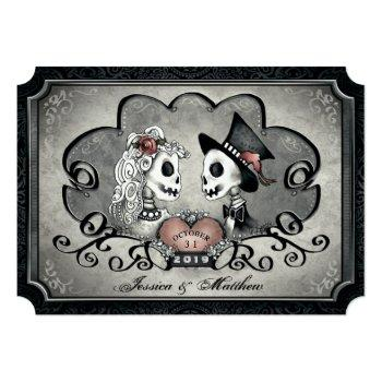 "skeletons gray black heart wedding ""together with"" invitation"