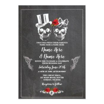 skull wedding halloween roses gothic floral invite
