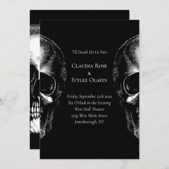 skulls gothic wedding invitation