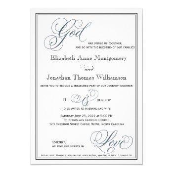 slate blue formal script religious wedding invitation