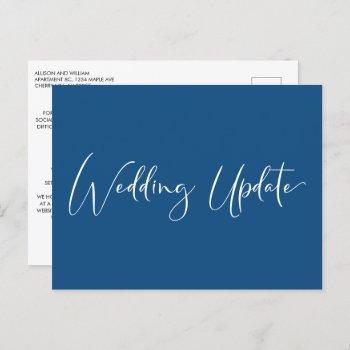 smaller reduced wedding update elegant blue announcement postcard