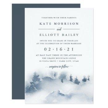 snowbound   winter watercolor wedding invitation