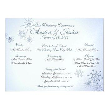 snowflake ice blue wedding program