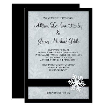 snowflake winter wedding invitation - black, white
