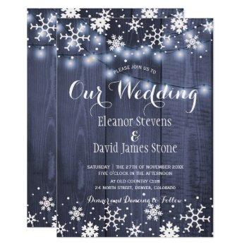 snowflakes barn blue wood winter rustic wedding invitation