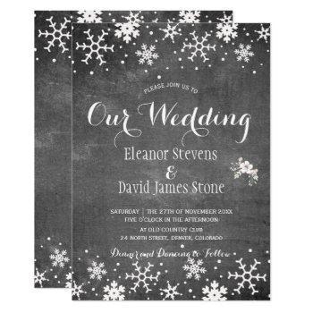 snowflakes chalkboard winter rustic wedding invitation