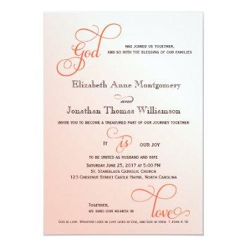 soft melon script god is love christian wedding invitation