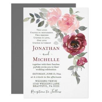 soft pink burgundy floral christian wedding invitation
