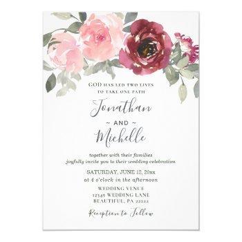 soft pink burgundy greenery floral wedding invitation
