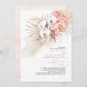 soft pink floral pampas grass tropical wedding invitation