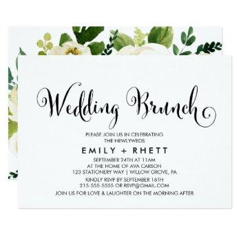 southern belle calligraphy   floral wedding brunch invitation