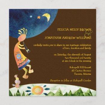 southwestern kokopelli brown tribal wedding invitation