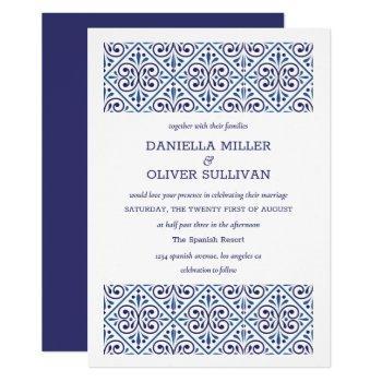 spanish navy indigo tile mediterranean wedding invitation