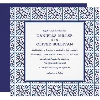 spanish navy tile mediterranean wedding invitation