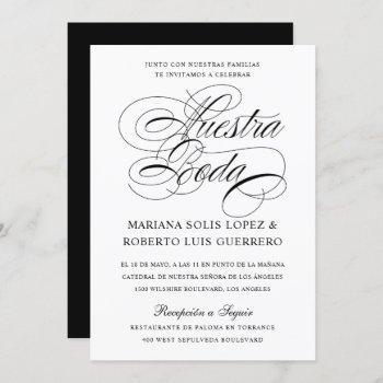 spanish nuestra boda blanco y negro caligrafía invitation