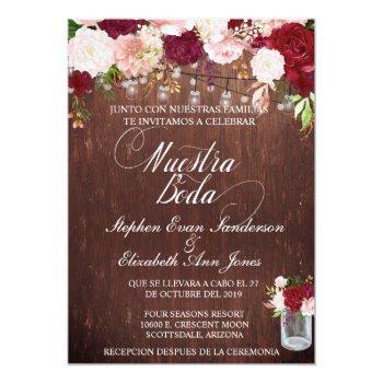 spanish rustic wood burgundy blush mason jar invitation