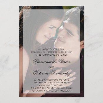 spanish wedding modern photo sheer overlay invitation
