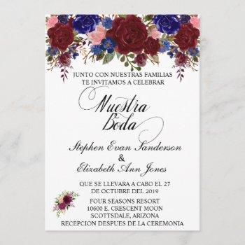 spanish wedding rose burgundy navy nuestra boda invitation