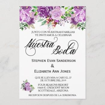 spanish wedding rose purple lavender nuestra boda invitation