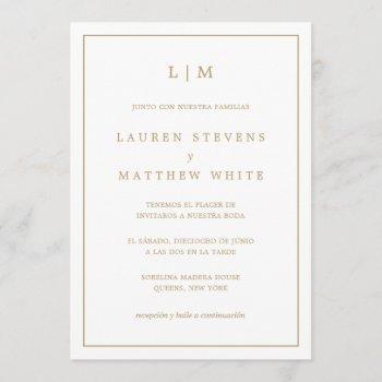 spanish wedding simple gold and white monogram invitation