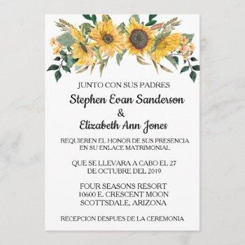spanish wedding sunflowerr floral navy invitation