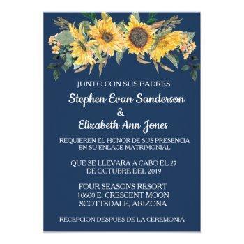 spanish wedding sunflwoer floral navy invitation