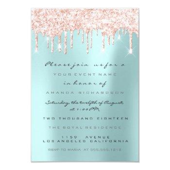 spark glitter drips pink  bridal sweet 16th blue invitation