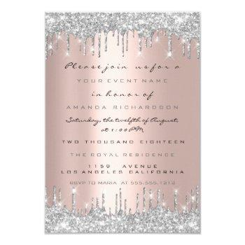 spark glitter drips silver grey bridal sweet 16th invitation