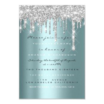 spark glitter drips silver teal bridal sweet 16th invitation